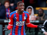 Crystal Palace's Wilfried Zaha reacts on March 7, 2020