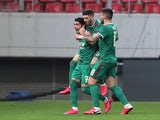 Wolverhampton Wanderers' Pedro Neto celebrates scoring their first goal with teammates on March 12, 2020