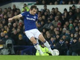 Everton's Leighton Baines scores their second goal in December 2019