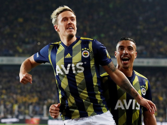 Fenerbahce's Max Kruse celebrates scoring their first goal in February 2020