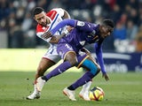 Lyon's Memphis Depay pictured in action with Toulouse's Ibrahim Sangare in January 2019