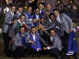 Team Europe golfers (front row L-R) Nicolas Colsaerts, Sergio Garcia, and Graeme McDowell and (back row L-R) Ian Poulter, Paul Lawrie, Francesco Molinari, Lee Westwood, captain Jose Maria Olazabal, Justin Rose, Luke Donald , Peter Hanson, Rory McIlroy and