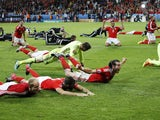 Wales celebrate qualifying for the Euro 2016 semi-finals