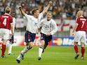 Michael Owen celebrates scoring against Denmark at the 2002 World Cup