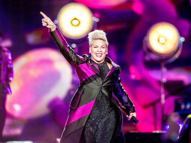 Pink pictured on her world tour on August 7, 2019