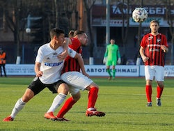 Players from Belarusian clubs FC Torpedo and Belshina in action during the match despite most sport being cancelled around the world as the spread of coronavirus disease (COVID-19) continues