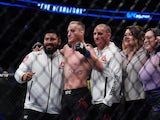 Justin Gaethje (blue gloves) defeats Donald Cerrone red gloves) during UFC Fight Night at Rogers Arena in September 2019