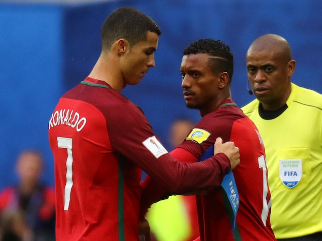 Cristiano Ronaldo and Nani pictured in action for Portugal in 2017