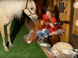 Shania Twain serenading a horse