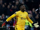 Andre Onana in Europa League action for Ajax in February 2020
