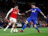 Arsenal's Hector Bellerin in action with Olympiacos's Kostas Tsimikas in the Europa League on February 27, 2020