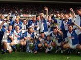 Blackburn Rovers celebrate their Premier League title triumph in 1994-95