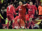 Liverpool players celebrate scoring in the 2001 UEFA Cup semi-final against Barcelona