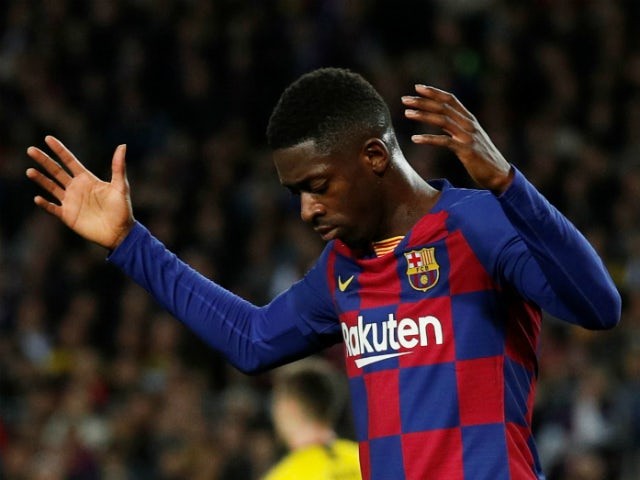 Ousmane Dembele in rare action for Barcelona in November 2019