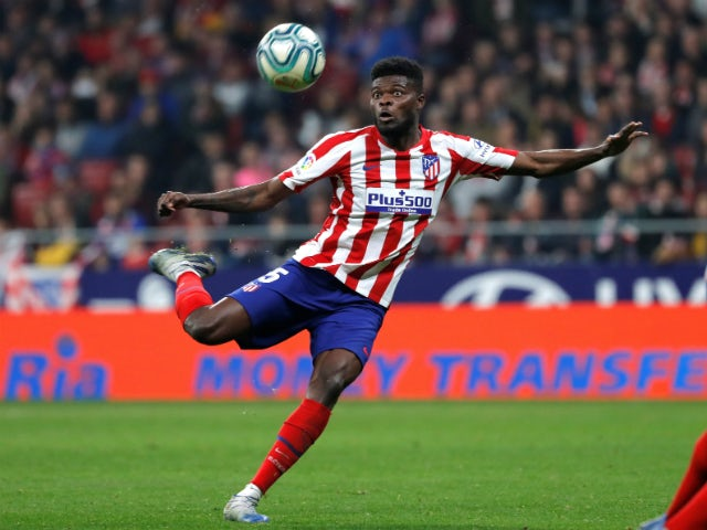 Thomas Partey in La Liga action for Atletico Madrid in February 2020