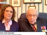 Captain Tom Moore appearing on Good Morning Britain on April 13, 2020