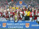 Arsenal lift the Premier League title at the end of the 2001-02 season