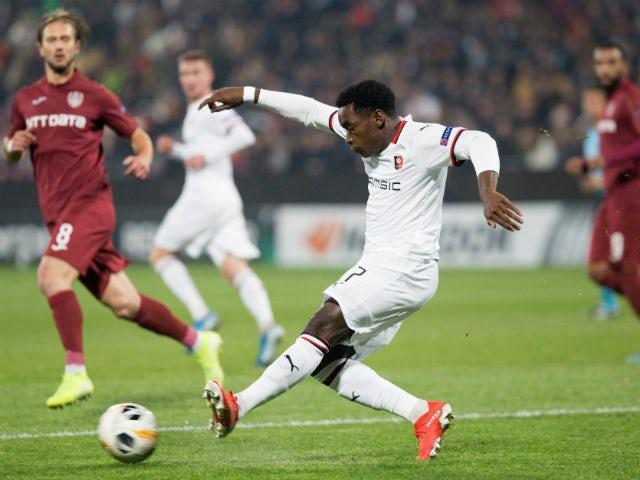 Rennes midfielder Faitout Maouassa in Europa League action on November 7, 2020