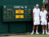 John Isner and Nicolas Mahut pictured at Wimbledon after playing out the longest tennis match ever