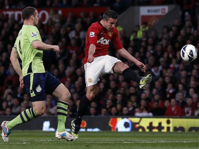 Manchester United's Robin van Persie scores against Aston Villa in 2013