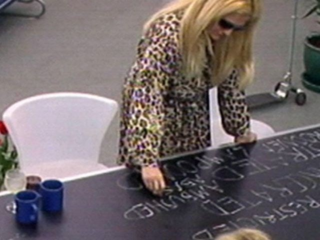 Vanessa Feltz takes out her frustrations on a table on Celebrity Big Brother 1