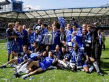 Chelsea celebrate winning the 2004-05 Premier League title