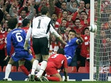 Luis Garcia scores for Liverpool against Chelsea in the 2005 Champions League semi-final