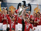 Manchester United lift the 2006-07 Premier League title on May 13, 2007