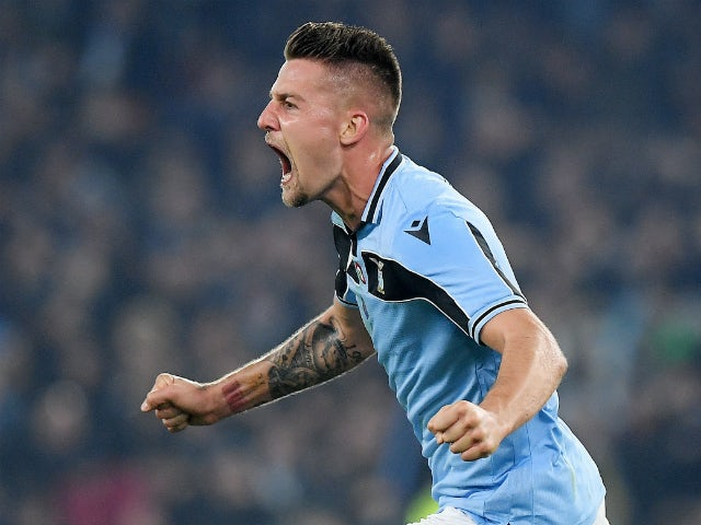 Lazio midfielder Sergej Milinkovic-Savic celebrates scoring against Inter Milan in February 2020