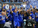 Frank Lampard, Didier Drogba and John Terry lift the Premier League trophy in 2010