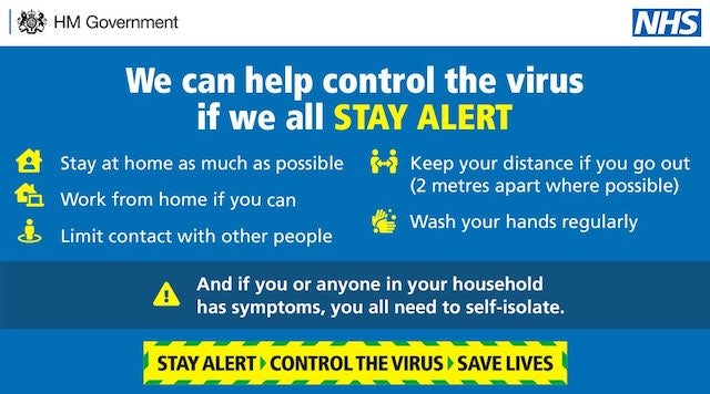 Latest coronavirus PSA banner with new government guidelines