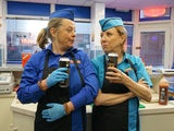 Cathy and Bernie crack open the ciders in the kebab shop on Coronation Street on May 13, 2020