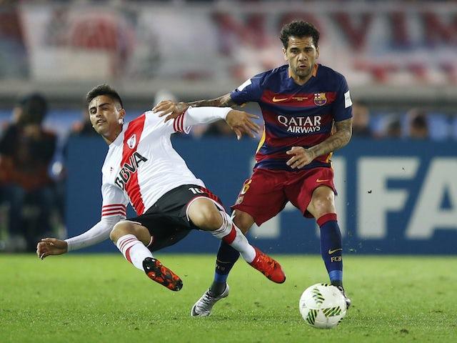 Dani Alves pictured in action for Barcelona in December 2015