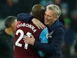 West Ham United manager David Moyes celebrates with Angelo Ogbonna in January 2020