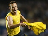 Andres Iniesta celebrates scoring against Chelsea in 2008-09 Champions League semi-final