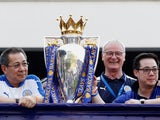 Vichai Srivaddhanaprabhia, Claudio Ranieri and Aiyawatt Srivaddhanaprabhia after Leicester City win the Premier League title in 2016.