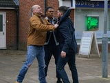 Tim stops a Weatherfield County fan from homophobically abusing James on Coronation Street on May 15, 2020
