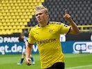 Borussia Dortmund striker Erling Braut Haaland celebrates scoring against Schalke on May 16, 2020