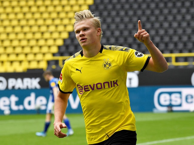 Borussia Dortmund striker Erling Braut Haaland celebrates scoring against Schalke on May 16, 2020