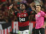 Flamengo midfielder Gerson celebrates scoring in February 2020