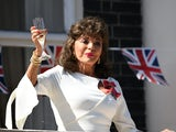 Dame Joan Collins pictured celebrating the 75th anniversary of VE Day on May 8, 2020