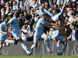 Man City players celebrate their last-gasp title win in 2012