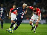Paris Saint-Germain's Neymar in action with AS Monaco's Guillermo Maripan in January 2020