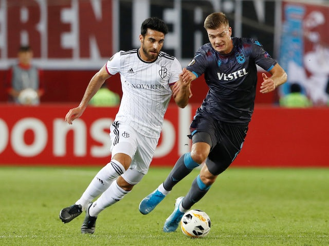Trabzonspor's Alexander Sorloth in action with Basel's Eray Comert in the Europa League on October 3, 2019