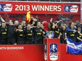 Wigan Athletic celebrate winning the FA Cup in 2013