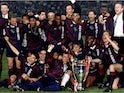 Ajax celebrate with the Champions League trophy in 1995