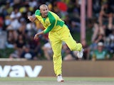 Ashton Agar pictured for Australia in March 2020