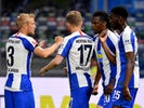 Hertha Berlin players celebrate scoring against Union Berlin in the derby on May 22, 2020