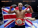 James DeGale celebrates winning the IBF super-middleweight title in 2015