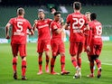 Bayer Leverkusen celebrate Kai Havertz's second goal against Werder Bremen on May 18, 2020